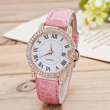 fashion casual ladies wrist watch women accessories watch of rhinestone watchcase Rome's number dial reloj mujer