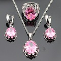 Huge Pink Created Topaz Silver Color Jewelry Sets For Women Wedding Necklace/Pendant/Drop Earrings/Rings Free Gift Box