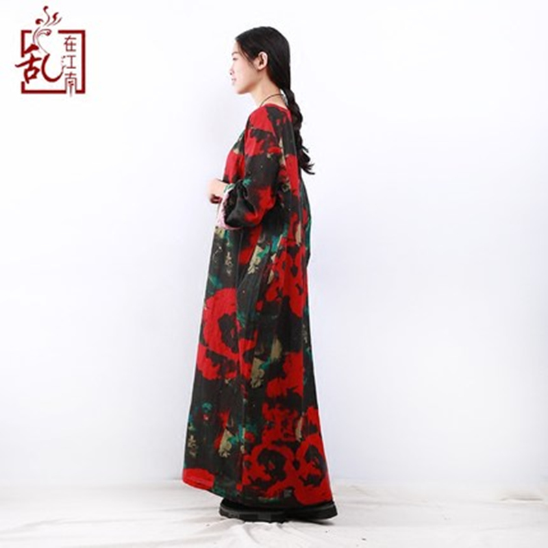 2018 Spring Maxi Dress Plus Size Women Dress Long Sleeve O neck Vintage  Flower Print Robe Cotton Linen Long Dresses Ethnic Cloth-in Dresses from  Women s ... a56fa028b99c