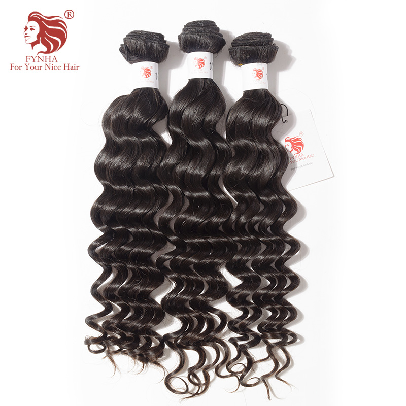 [FYNHA] 3 Bundles Indian Virgin Hair Loose Deep Wave Weave Human Hair Extensions Natural Black Bundles Deal