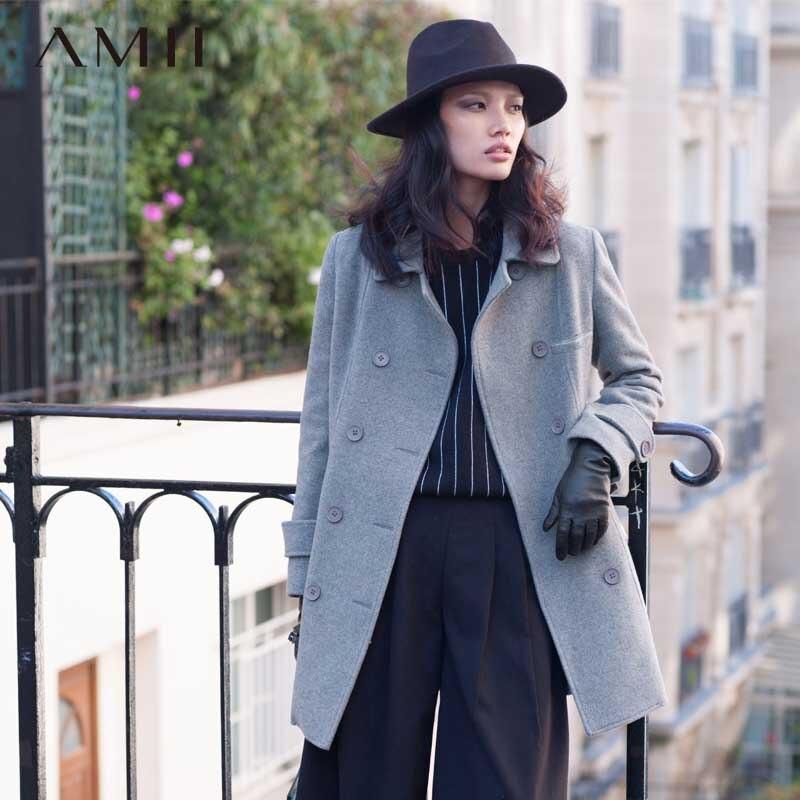 Amii Casual Women Woolen Coat 2018 Winter Double Breasted Turn-down Collar Slim Female Wool Blends