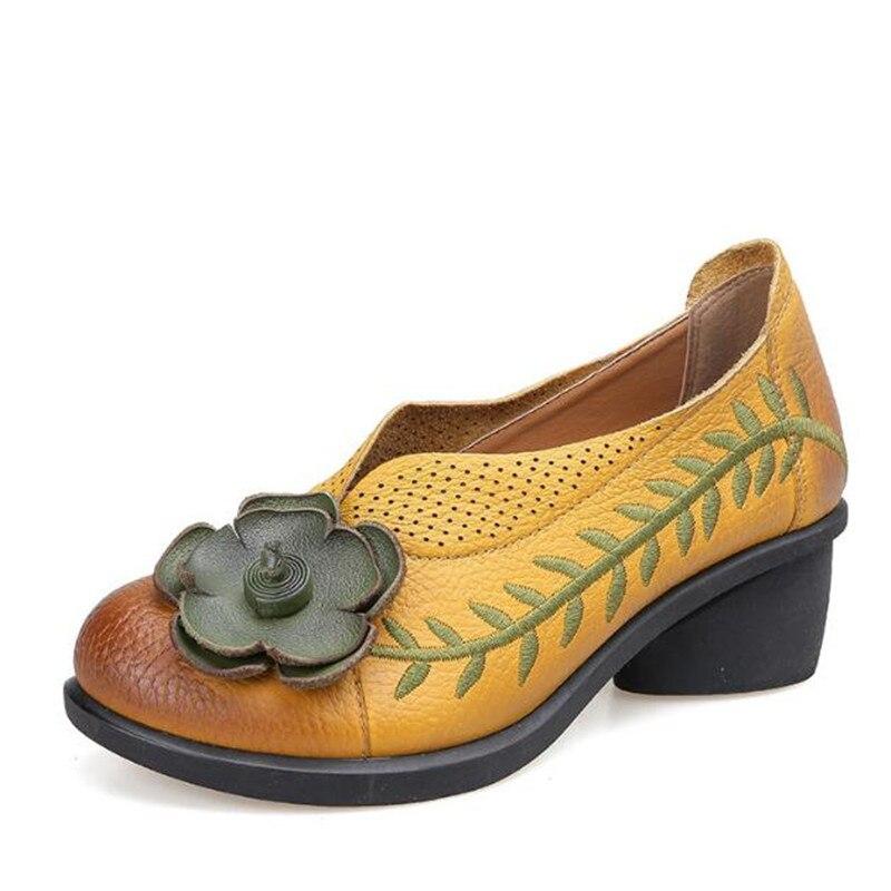 2017 1 Talon 1 Automne Talons Casual Cuir red De Femmes red En Ethnique Broderie Black Véritable Printemps 1 yellow Pompes Brut Nouveau Schuhe Style Fleurs Chaussures yellow black rSwxrqBn