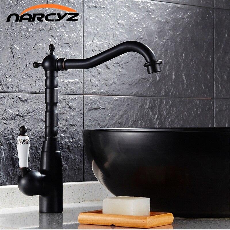 Newly Blackened Faucets Kitchen Brass Retro Faucet Bathroom Basin Mixer Deck Mounte Swivel Spout Black Faucet