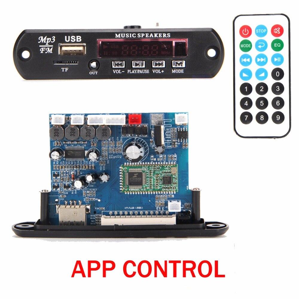 APP Control Bluetooth 4.0 MP3 Decoding Board Module 2*10w power amplifier TF Card USB FM APE FLAC WAV WMA Decoder Board Red LED