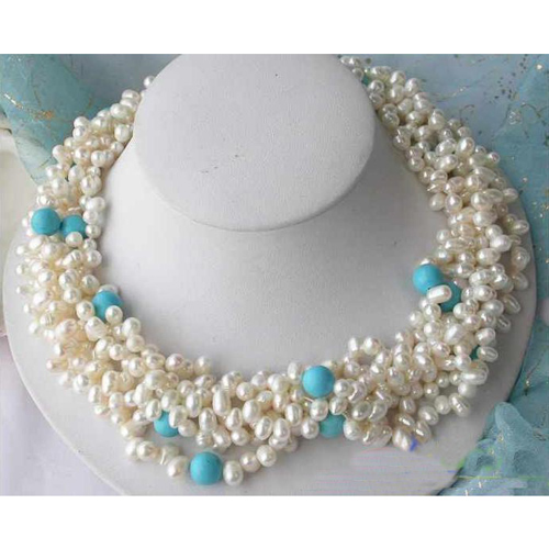все цены на Handmade Real Pearl Jewellery,5Rows 18inches Turquoises White Rice Freshwater Pearl Necklace,Perfect Women Birthday Gift онлайн