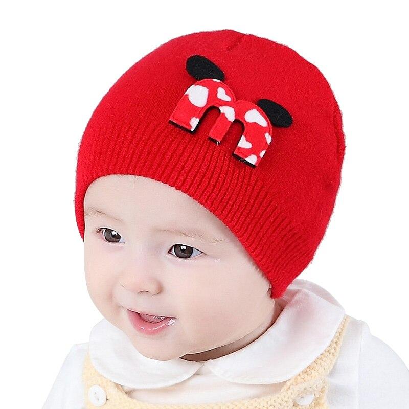 Warm Crochet Baby Hat Soft Cotton Newborn Girl Hat Cute Letter Baby Bonnet Hat Autumn Winter Newborn Beanies Baby Girls Clothing