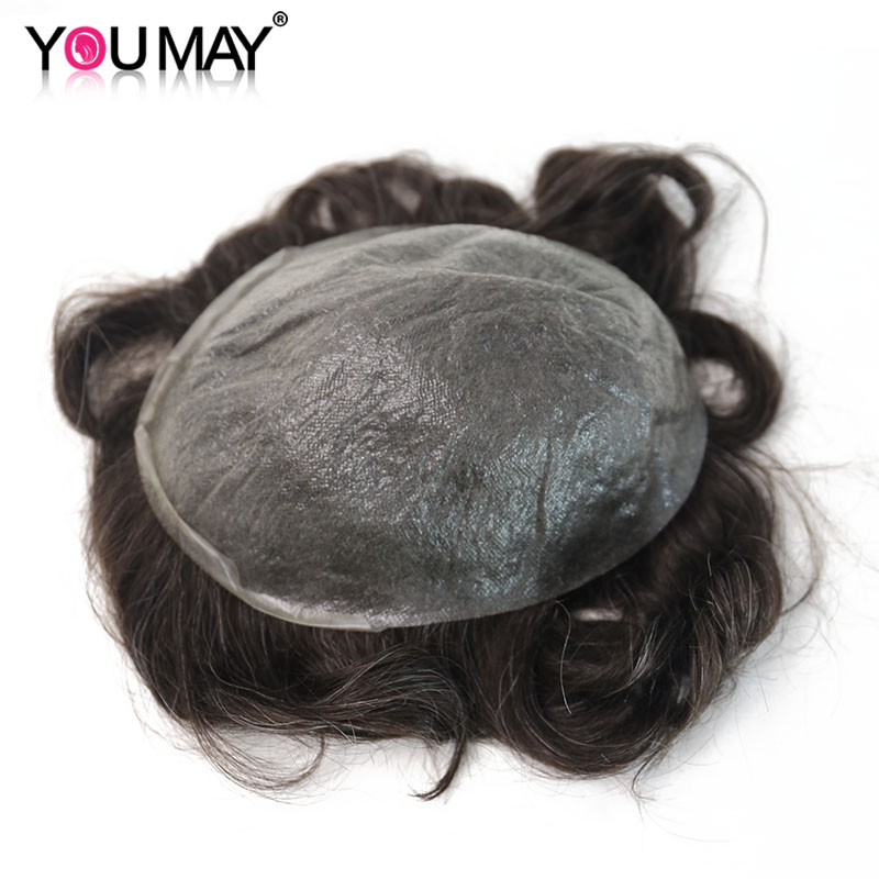 Ultra Thin PU Mens Toupee Skin Invisible Hairpieces Replacement V-loop PU System Men Toupee Human Hair Wigs #220 8X10 You May