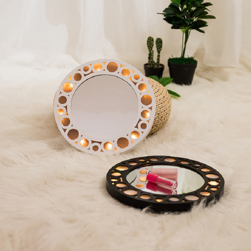 Led Battery Round Hanging Vanity Wooden Fairy Mirror