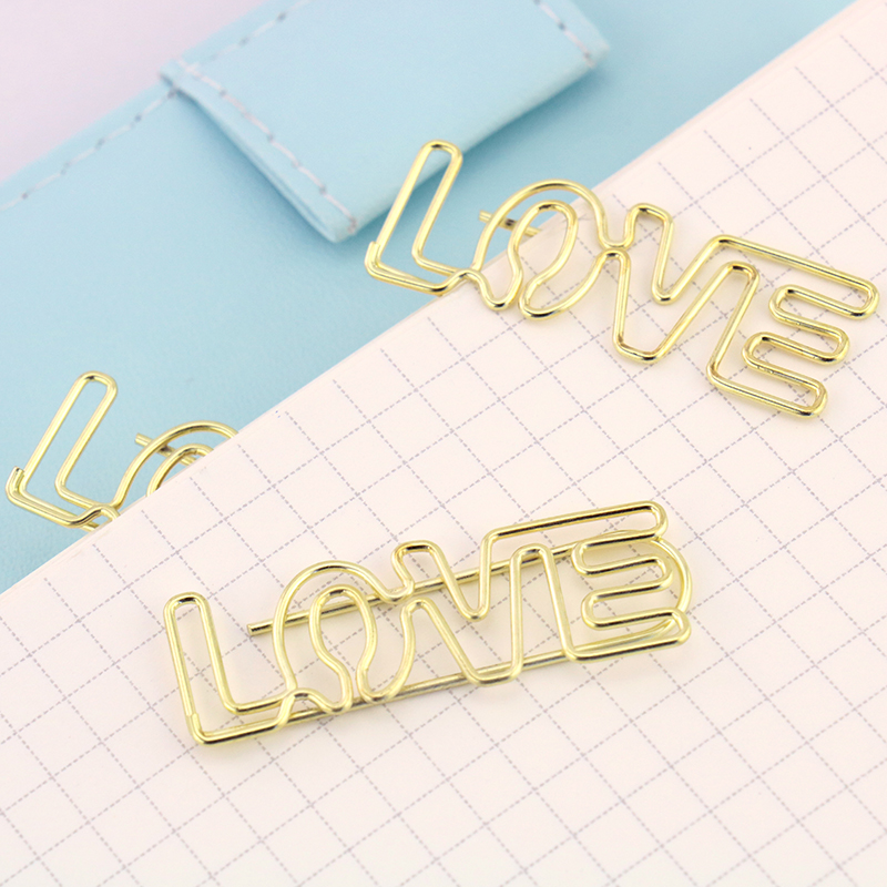 4PCS/LOT Electroplated Gold Paper Clips Pin Metal Clip Bookmarks Storage Office Accessories Cute Bow Paper Clips H0060