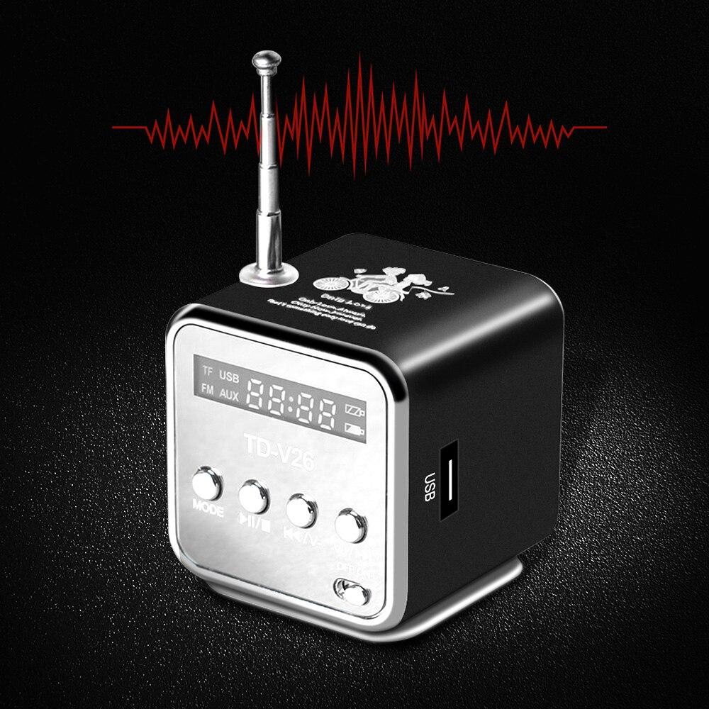 TD-V26 Mini Radio FM haut-parleurs portables numériques avec récepteur Radio FM prise en charge carte SD/TF pour lecteur de musique Mp3 chargement USB