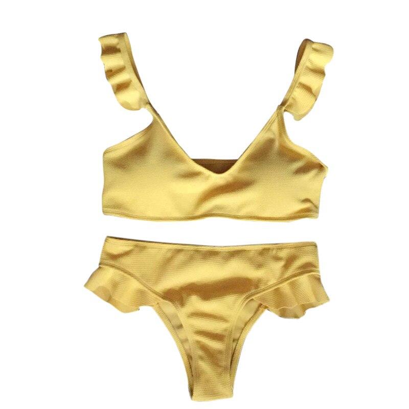 snowshine3 YLI Womens Bikini Padded Push-Up Bra Bandage Ruffle Swimsuit Beachwear Bathing Suit