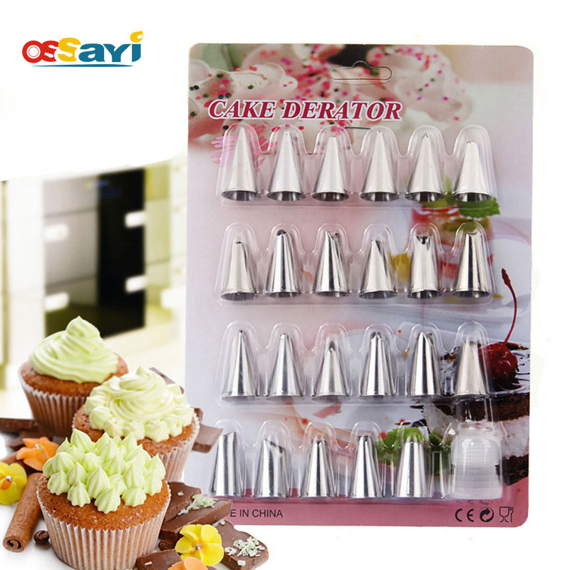 24Pcs/set Stainless Steel Nozzles Pastry Tube Icing Piping Nozzles Bags Nozzles Adaptor Russian Kit Cake Cookies Dessert Decor