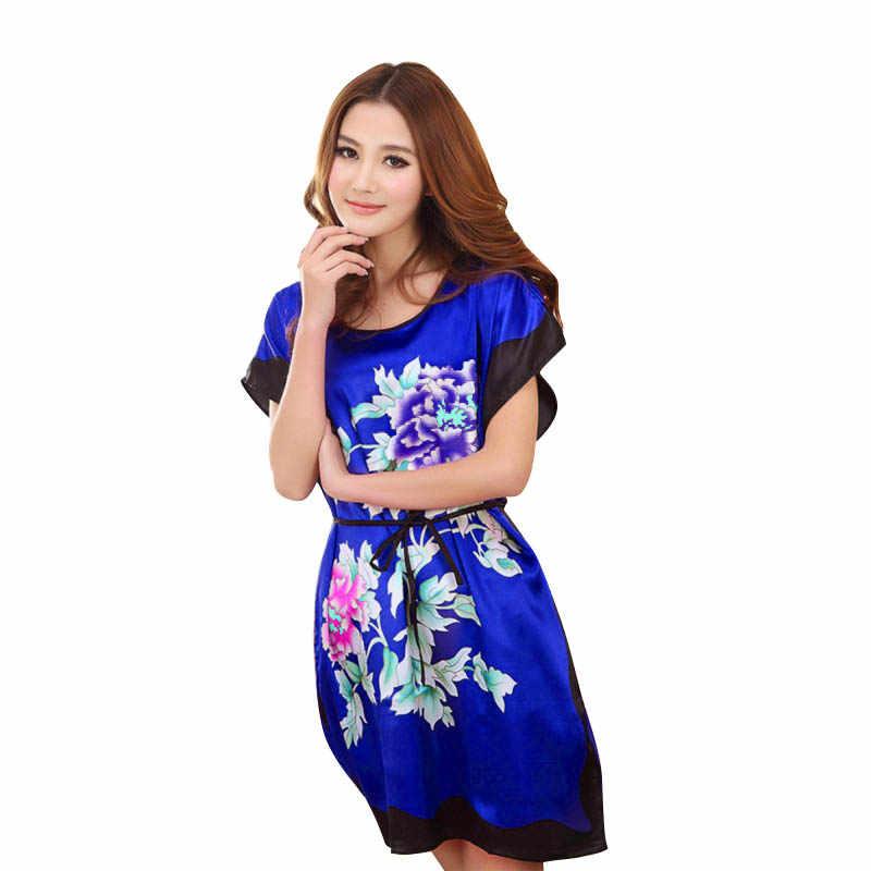 180ece1c51 ... Fashion Chinese Style Women Sexy Print Lingerie Lady Peony Robe Kimono  Bath Gown Nightgown Sleepwear ...