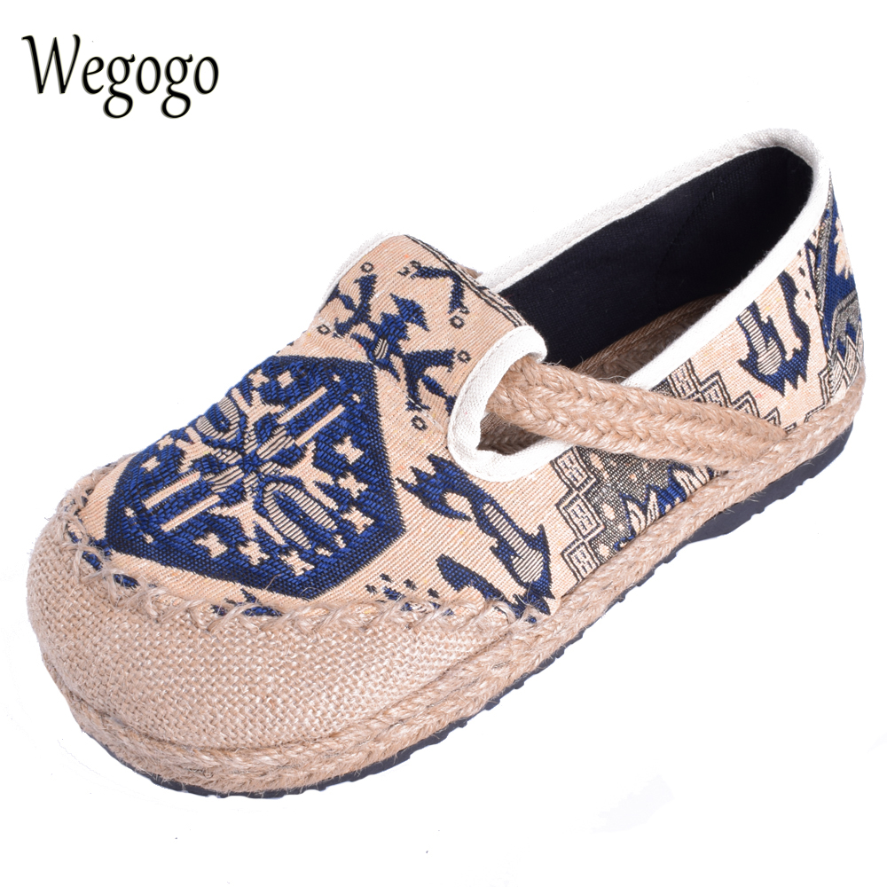 Wegogo Women Flats Shoes Thai Boho Cotton Linen Canvas Cloth National Handmade Woven Round Toe Flat Shoes Embroidered Plus size vintage flats shoes women casual cotton peacock embroidered cloth flat ankle buckles ladies canvas platforms zapatos mujer