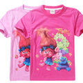 2017 Nueva Moda Trolls verano niños niños chicas camisetas camiseta de la manera ropa de diseño lindo de las muchachas princesa 4-12Years camiseta