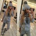 2016 Autumn Women Sets Hooded Sweatsuit Set & Tracksuits trend Costume Women (Blouse+Pants) O-neck letter print suit plus size