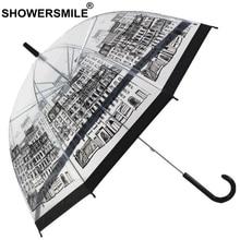 SHOWERSMILE Transparent Rain Umbrella Clear See Through Parapluie Building Print Semi-automatic Bumbershoot Novelty Guarda Chuva