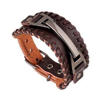 cb7ebbdc3124 Alta calidad punk 24 cm marrón Cuero auténtico pulsera para hombres mejores  amigos brazalete braslet pulseira masculina pulseras Mujer