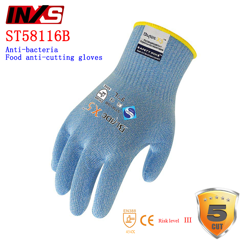 SAFETY-INXS ST58116B anti cut gloves EC certification safety glove Contact with food Resistant to bacteria Anti-cutting gloves anti cut safety glove hppe cut resistant work glove