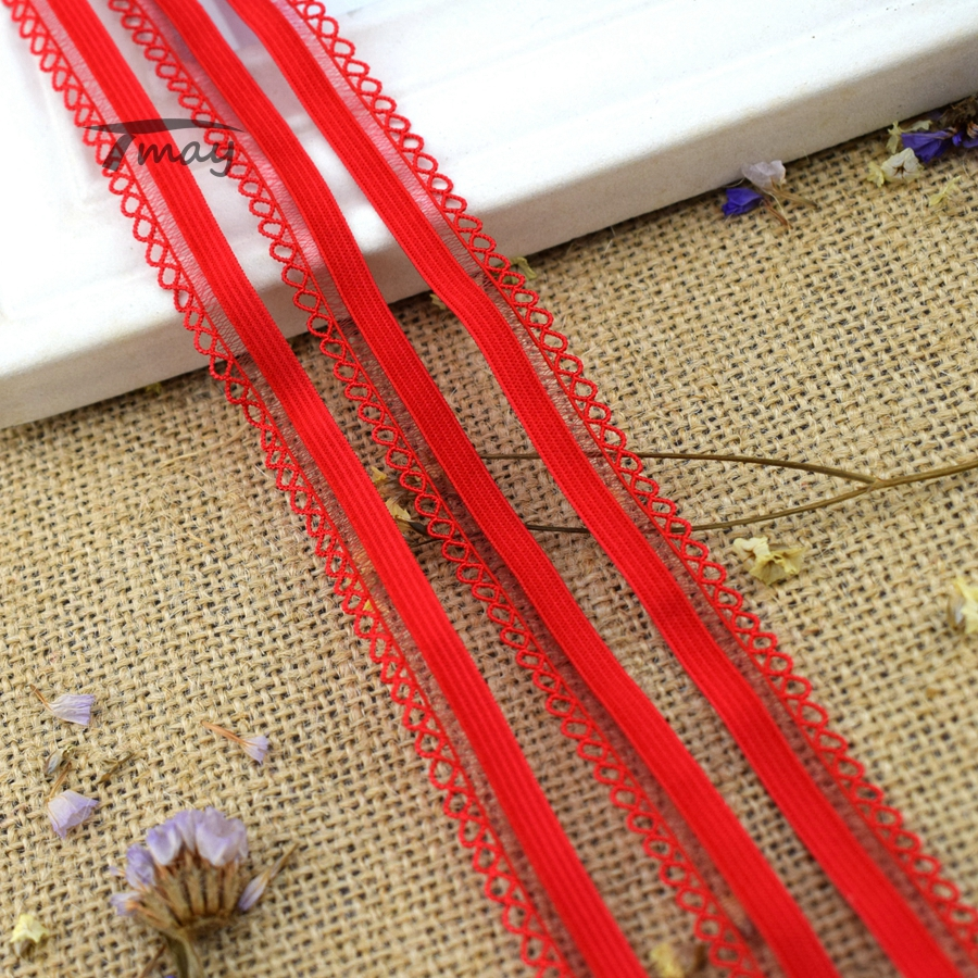 #214 Red Elastics Nylon Elastic Bands Underwear Stretch Lace Trimmings Ribbon Tape Headbands Baby Pants Use Spandex Ribbon