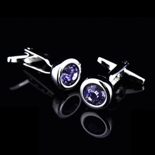 Bridegroom Wedding Party Business Men Cufflinks French Shirts Cuff Links Bluish Violet Crystal Silvery Cufflink With Gift Bag(China)