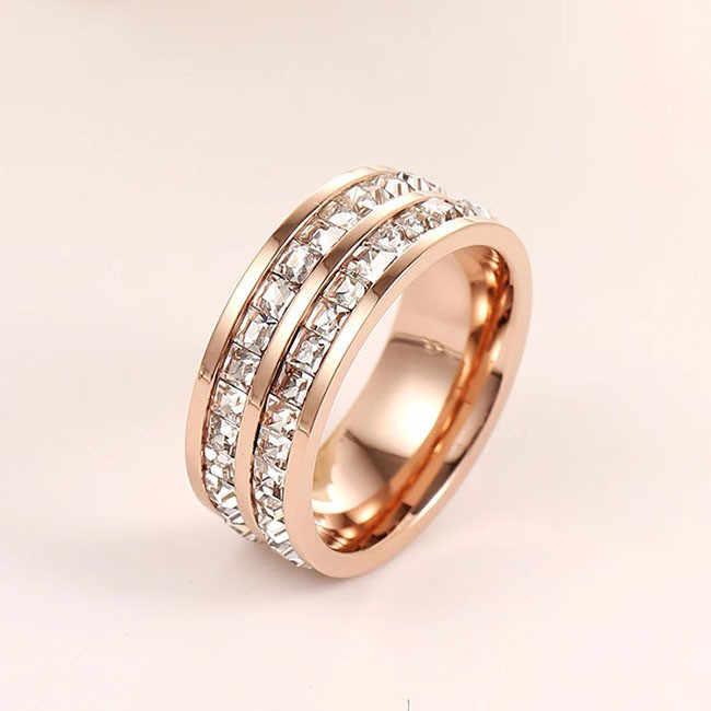 Martick คุณภาพแบรนด์กุหลาบแหวนทองสำหรับผู้หญิงเงินงานแต่งงานแหวน Shinning Cz แหวนสแตนเลสเครื่องประดับ R1