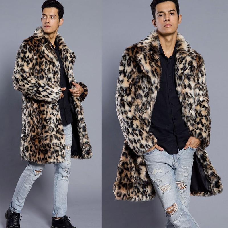 Erkek Kıyafeti'ten Yapay Deri Paltolar'de Erkek Leopar Kürk Ceket Kış Dış Giyim Kalın Ceket Erkekler Rahat Parka Ceketler Uzun Sıcak Palto Kürk Marka Iş Giyim S 3XL'da  Grup 1