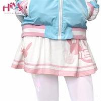 Japan Design Lovely Women mini Skirt Print Preppy Style Cartoon Pleated Girl Skirt Cute Cotton Elastic Waist Femme Kawaii Skirt
