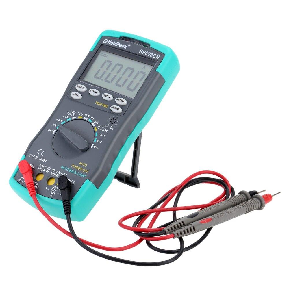 Holdpeak hp-890cn lcd multímetro digital dc voltaje ac actual probador del metro de la temperatura rango meaurement auto herramienta de diagnóstico