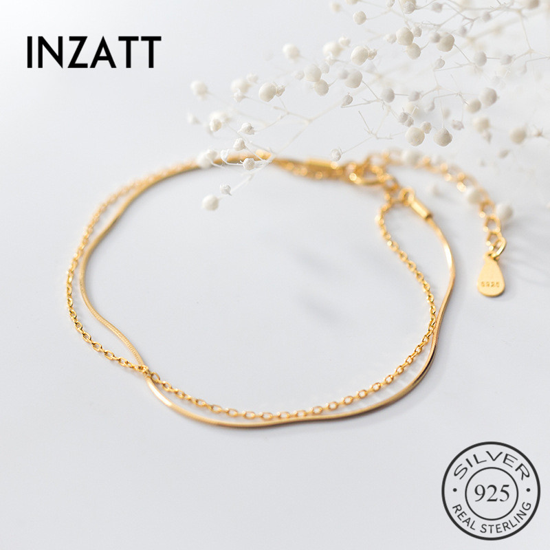 INZATT Real 925 Sterling Silver MInimalist Double chain Bracelet For Charming Women Wedding Romantic Fine Jewelry 2019 Gift