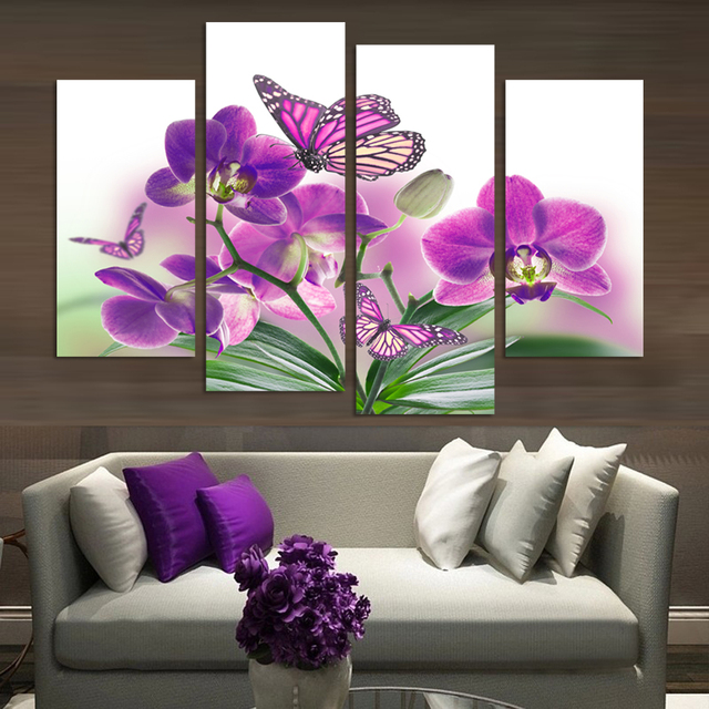 Purple Flower Oil Painting Abstract Wall Art Picture: 4 Piece Purple Flowers Paintings Butterfly Orchid Art