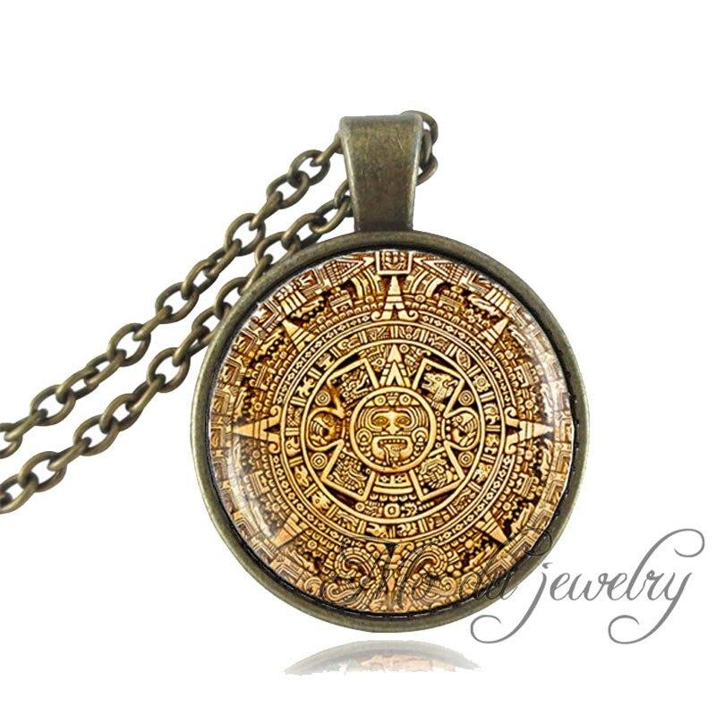 2 pcs new design mayan aztec calendar gold plated souvenir coin in mayan calendar pendantmayan calendar jewelryaztec calendar necklaceantique bronze chain astronomy aloadofball Image collections