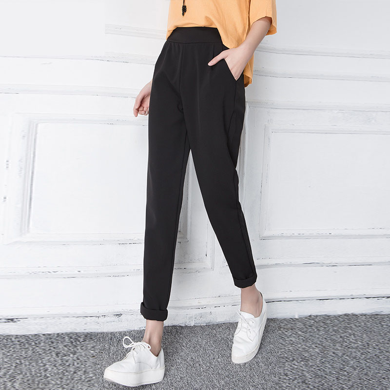 2c589108dd25 Spring Summer And Autumn Casual Women Harem Pants Trousers Fashion Black  And White Loose Elastic Waist Wide Leg Pants Plus Size