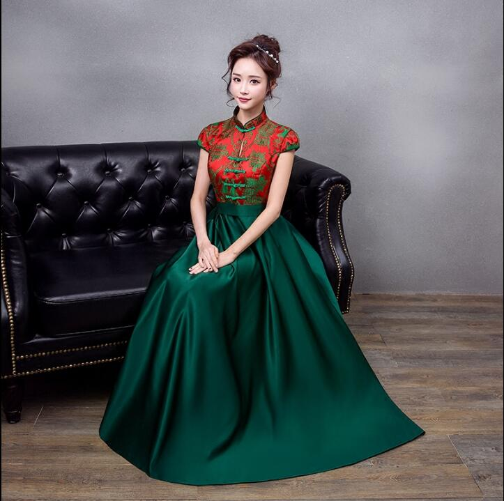 Traditional Chinese Bride Evening Dress 2018 New Green Cheongsam Plus Size Woman Oriental Style Dresses