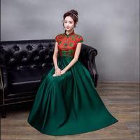 Tradizionale Cinese Sposa Vestito Da Sera 2018 Nuovo Verde Cheongsam Plus Size Donna Abiti in Stile Orientale