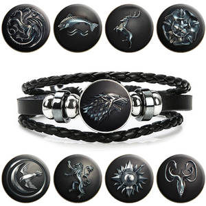 Multi Layers Black Leather Bracelets for Men Women Game of Thrones Snap Button Badge