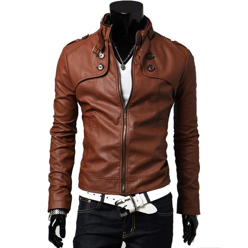 2013 fashion casual men's jackets pu leather jacket waterproof high neck slim jacket Free shipping JPPY02