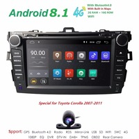 8 четырехъядерный 2 din Автомобильный Радио dvd gps android 8,1 для Toyota corolla 2007 2011 в тире авто радио мультимедиа головное устройство 2G RAM Wifi
