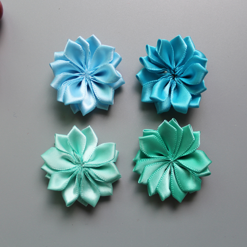 50 pcs lot 30colors Satin Ribbon Multilayers fabric flowers for headbands without clips girl DIY hair accessories in Hair Accessories from Mother Kids