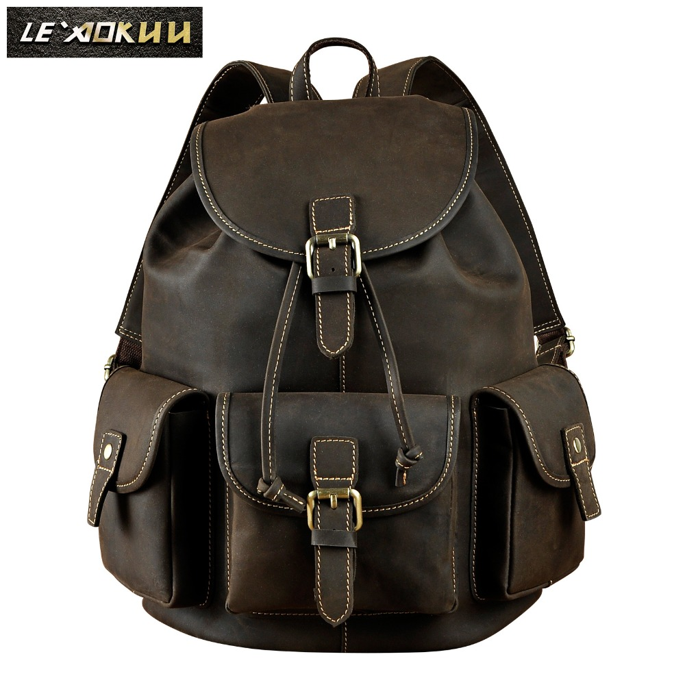 Original Leather Design Men Travel Casual Backpack Daypack Rucksack Fashion Knapsack College School Student Laptop Bag Male 9970 original leather design university student school book bag male fashion knapsack daypack backpack travel 13 laptop bag men 9999