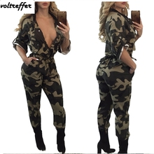 Army Green Camouflage Print Rompers Womens Jumpsuit Loose Pinup Button Casual One Piece Outfis Macacao Feminino Curto Bodysuit