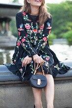 black dress fashion style loose floral embroidered long sleeve O-neck Spring Summer 2017 elegant women dresses vestidos clothing