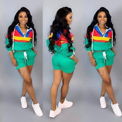 >2019 Women Zipper Up Patchwork Long Sleeve Trench Shorts Drawstring Suit 2 Piece <font><b>Set</b></font> Sporting Safari Tracksuit <font><b>Outfit</b></font> 5 Colors