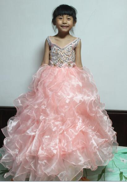 real photos Gorgeous beaded crystal girls Pageant dress 2017 first communion dresses for girls organza ball gown fast delivery