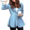 TANGNEST Faux Jeans Blouse 2017 Women Spring Long Sleeve Retro Vintage Washed Slim Fit Demin Peplum Hooded Shirt Tops WCL758