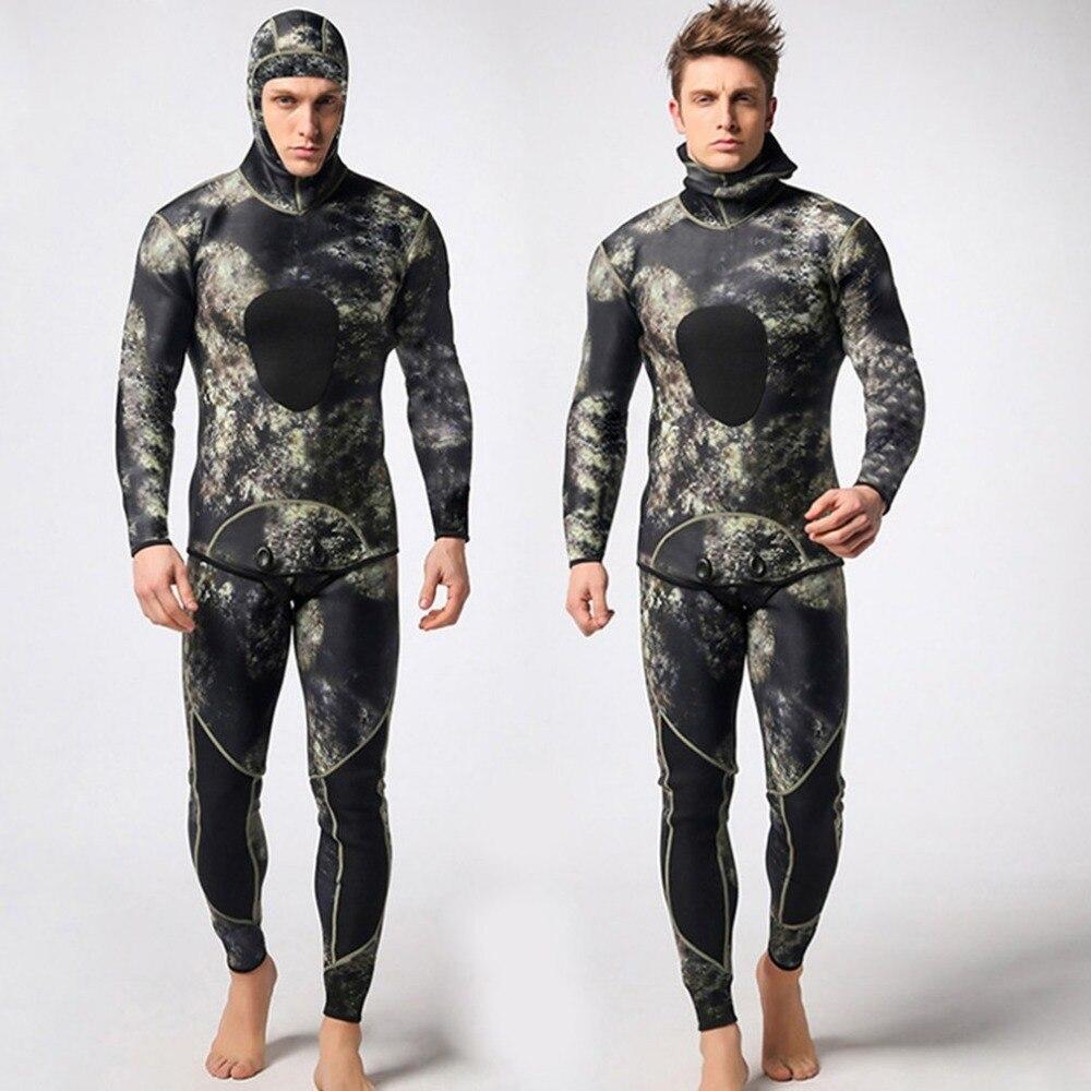 1Set Men Diving Suit Neoprene 3mm Spearfishing Wetsuit Surf Snorkel Swimsuit Split Surf Camouflage Clothing wds02 diving suit 3mm neoprene men and women spearfishing wetsuit surf snorkel swimsuit one piece long sleeved swimwears