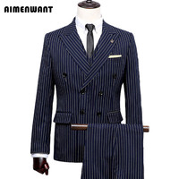 Wide Neck Suit For Mens Causal Slim Fitted Blazer Coat Brazil Striped Suits 3 Piece Male