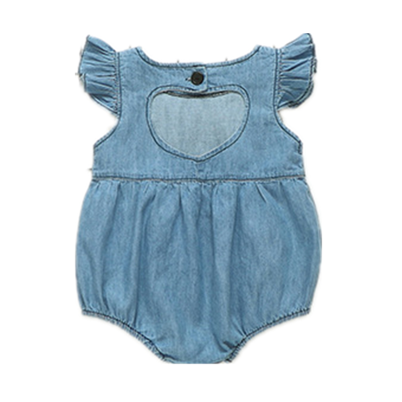 Newborn Clothing Baby Girls denim romper Summer Sleeveless Fashion denim body suit back heart baby girl clothes jumpsuit toddler