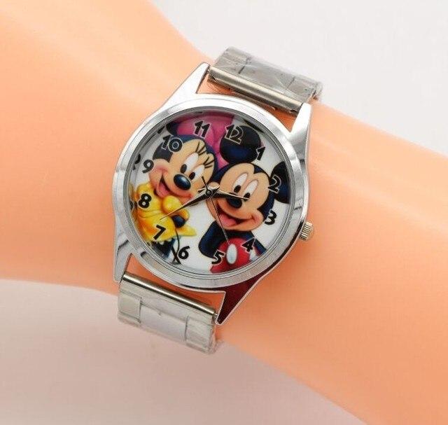 1PCS Cartoon Minnie mickey watch girls Stainless steel watch   fashion table ladies watch men women