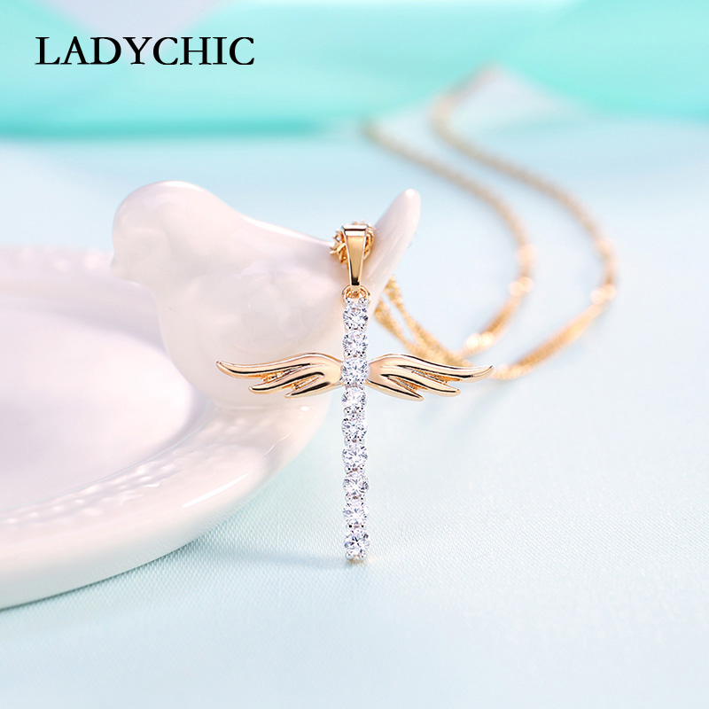 Elegance Gold Color Cross Pendant Necklaces for Women Men Trendy Classic Christian Jesus Crystal Necklace Jewelry Gift Wholesale 5